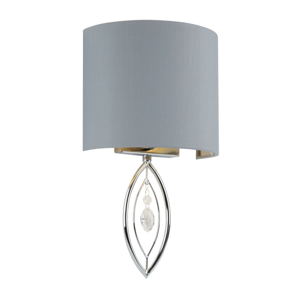 WALL LIGHT CHROME WITH GREY SHADE AND CRYSTAL DROP